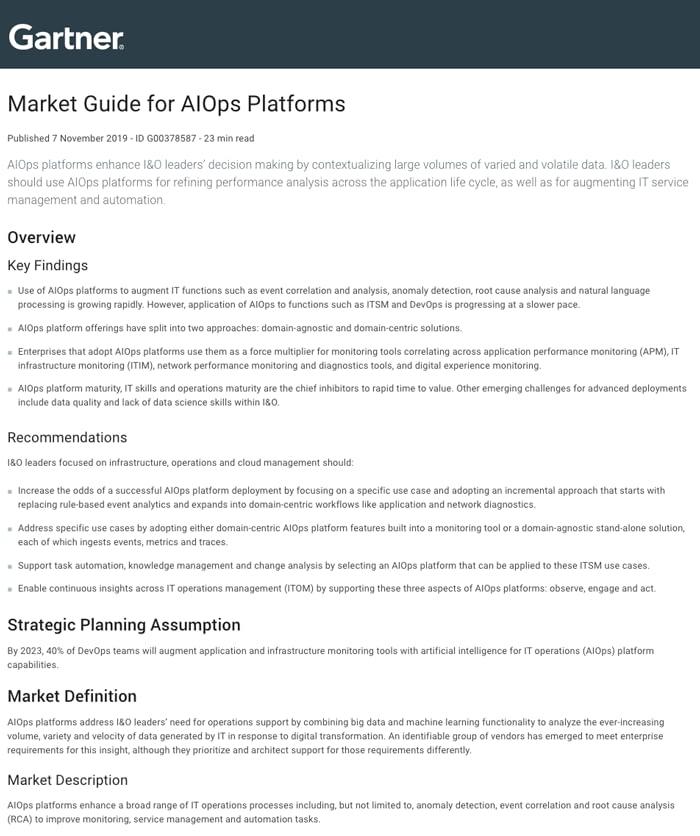 Gartner Market Guide for AIOps Platforms