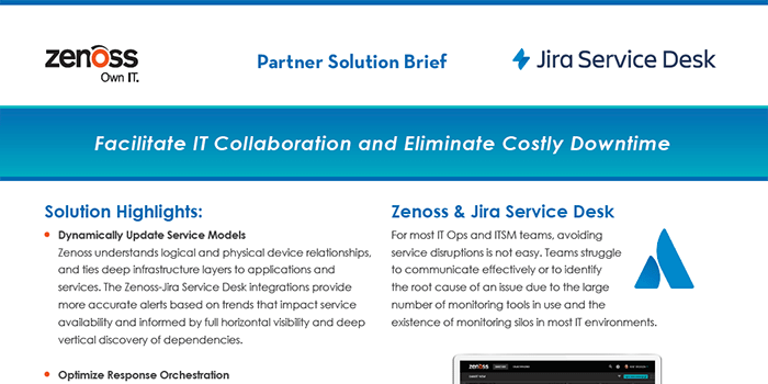 Zenoss-Jira Service Desk Partner Solution Brief