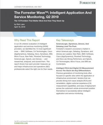 The Forrester Wave: Intelligent Application and Service Monitoring, Q2 2019