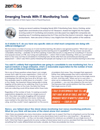 451 Research Insights: Emerging Trends With IT Monitoring Tools
