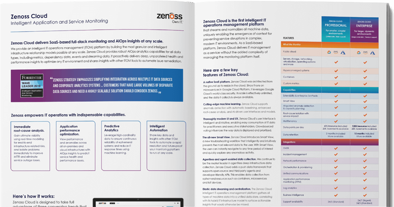 Zenoss Cloud Product Overview: Intelligent Application and Service Monitoring