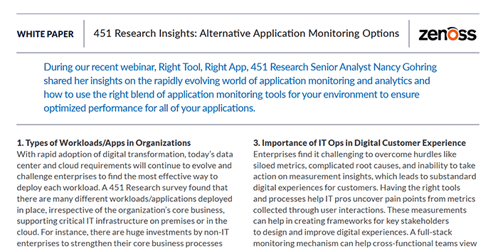 451 Research Insights: Alternative Application Monitoring Options