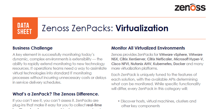 Zenoss ZenPacks: Virtualization