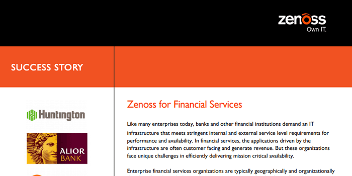 Zenoss for Financial Services