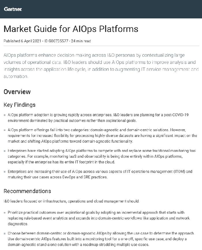 2021 Gartner Market Guide for AIOps Platforms