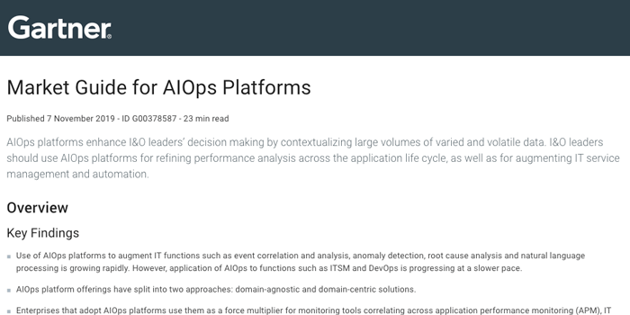 Gartner Market Guide for AIOps Platforms